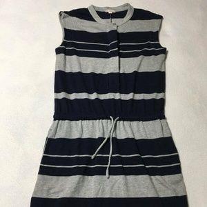 Gap Gray Navy Blue Stripe Soft Dress With Pockets